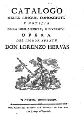 L. Hervás, Catálogo de las lenguas conocidas (ed. italiana).