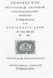 Prospectus Philosophiae Universae, Ferrara, 1773.