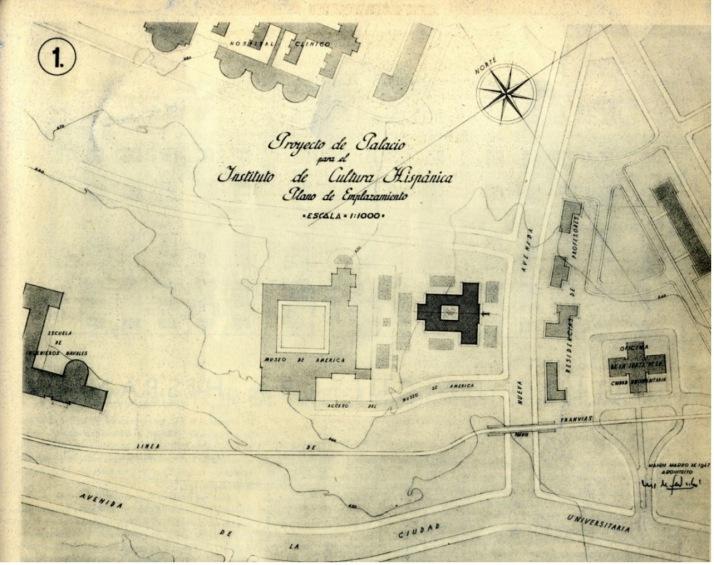 Plano de ubicación con el proyecto del Instituto de Cultura Hispánica